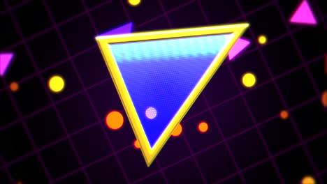 Bewegung-Retro-Dreieck-Im-Raum-Mit-Abstraktem-Hintergrund