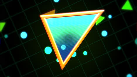 Motion-retro-triangle-in-space-with-abstract-background-1