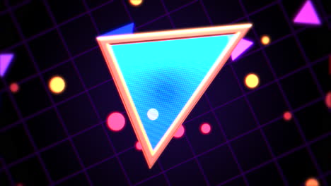 Motion-retro-triangle-in-space-with-abstract-background-3