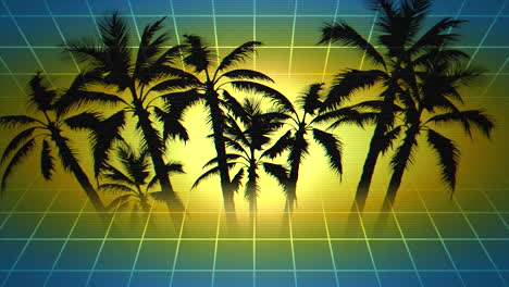 Motion-retro-summer-abstract-background-with-palm-trees-in-frame