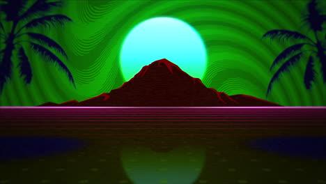 Movimiento-Retro-Fondo-Abstracto-Con-Rejilla-Roja-Y-Montaña-2