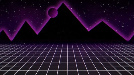 Motion-retro-abstract-background-with-purple-grid-and-mountain