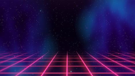 Movimiento-Retro-Líneas-Rojas-En-El-Espacio-Con-Fondo-Abstracto