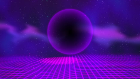 Motion-retro-purple-sphere-and-grid-with-abstract-background