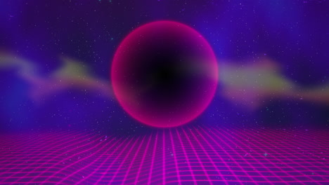 Motion-retro-purple-sphere-and-grid-with-abstract-background-1