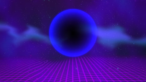 Motion-retro-blue-sphere-and-grid-with-abstract-background