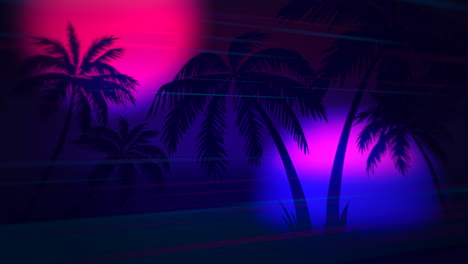Motion-retro-summer-abstract-background-with-palm-trees-in-night