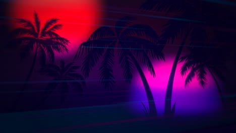 Motion-retro-summer-abstract-background-with-palm-trees-in-night-1