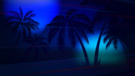 Motion-retro-summer-abstract-background-with-palm-trees-in-night-2