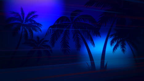 Motion-retro-summer-abstract-background-with-palm-trees-in-night-4