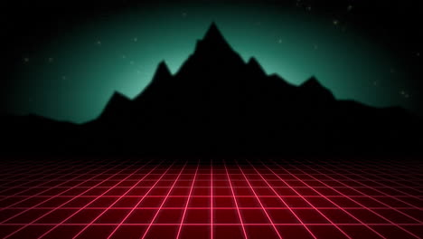 Motion-retro-abstract-background-with-red-grid-and-mountain-3