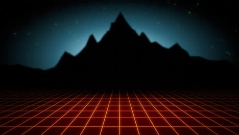 Motion-retro-abstract-background-with-red-grid-and-mountain-4