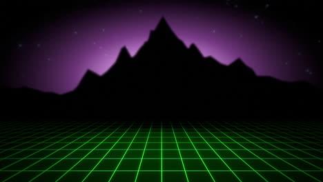 Movimiento-Retro-Fondo-Abstracto-Con-Cuadrícula-Verde-Y-Montaña-1