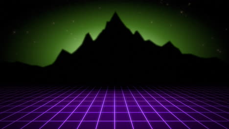 Motion-retro-abstract-background-with-purple-grid-and-mountain-1