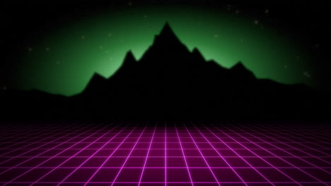 Motion-retro-abstract-background-with-purple-grid-and-mountain-2