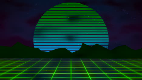 Motion-retro-abstract-background-with-green-grid-and-mountain-2