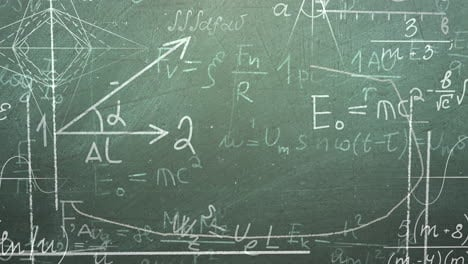 Closeup-mathematical-formula-and-elements-on-blackboard