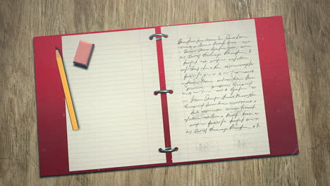Closeup-of-kids-background-with-notebook-and-pencil