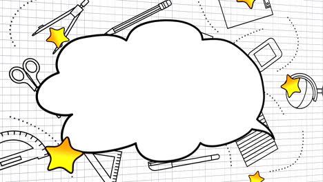 Closeup-motion-of-school-elements-educación-background