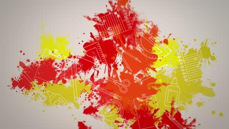 Closeup-motion-of-school-elements-educación-background-5