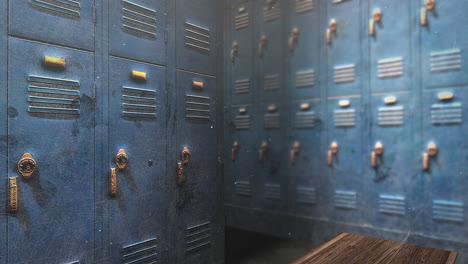 Motion-camera-in-school-locker-room-education-background