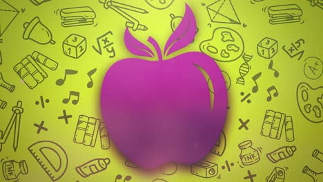 Closeup-motion-of-school-elements-education-background-with-apple