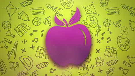 Closeup-motion-of-school-elements-education-background-with-apple-1
