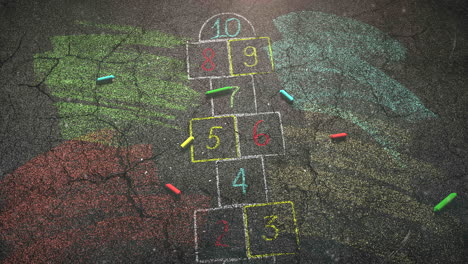 Closeup-colorful-chalk-on-street-school-background-of-education-theme-1