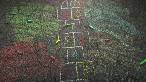 Primer-Plano-De-Tiza-De-Colores-Sobre-Fondo-De-La-Escuela-De-La-Calle