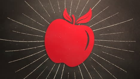 Closeup-motion-of-school-elements-education-background-with-apple-2