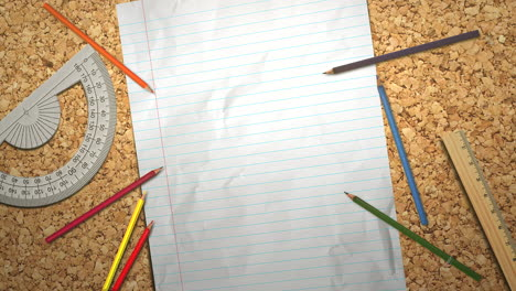 Closeup-table-of-student-with-notebook-and-pencil-school-background