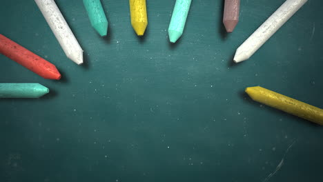 Closeup-colorful-chalk-on-blackboard-school-background-of-education-theme-1