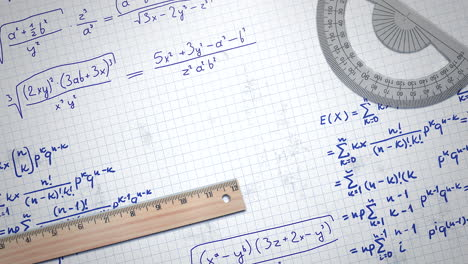Closeup-mathematical-formula-and-elements-on-paper-school-background-4