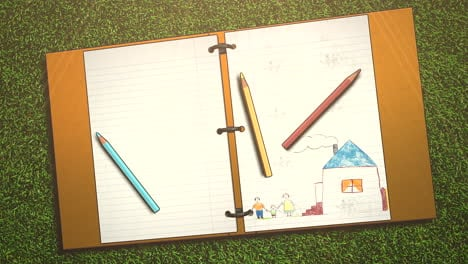 Closeup-of-kids-background-with-notebook-and-pencil-school-background-1