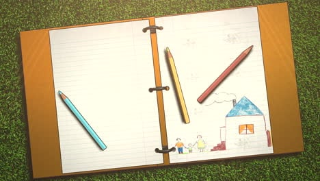 Closeup-of-kids-background-with-notebook-and-pencil-school-background-2
