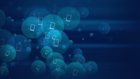 Iconos-De-Smartphone-En-Movimiento-Sobre-Fondo-De-Red-Simple