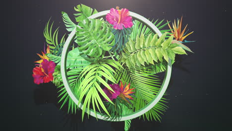Closeup-tropical-flowers-and-leaf-with-summer-background-1