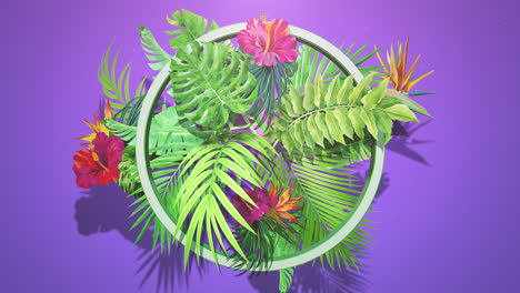 Closeup-tropical-flowers-and-leaf-with-summer-background-2