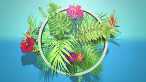 Closeup-tropical-flowers-and-leaf-with-summer-background-3