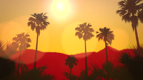 Panoramic-view-of-tropical-landscape-with-palm-trees-and-sunset-7