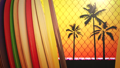 Closeup-surfing-boards-and-tropical-leaves-with-summer-background-7