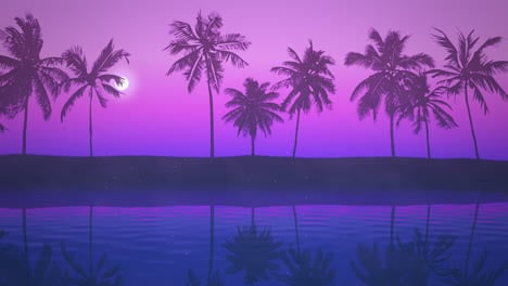 Panoramic-view-of-tropical-landscape-with-palm-trees-and-sunset-20