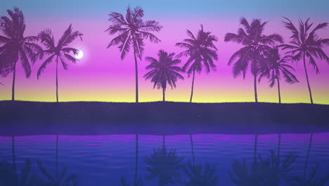 Panoramic-view-of-tropical-landscape-with-palm-trees-and-sunset-24