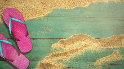 Closeup-sandy-beach-with-sandal-on-wood-3