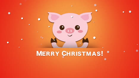 Merry-Christmas-text-and-funny-pig