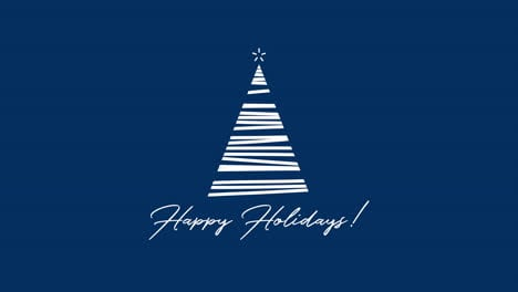 Happy-Holidays-text-with-white-Christmas-tree-on-blue-background