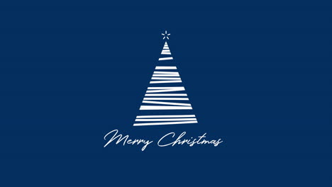 Merry-Christmas-text-with-white-Christmas-tree-on-blue-background