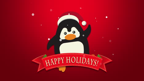 Happy-Holidays-text-with-funny-penguin-waving-on-red-background