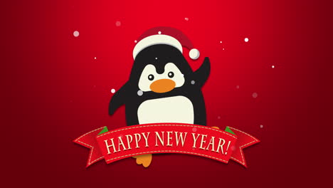 Happy-New-Year-text-with-funny-penguin-waving-on-red-background