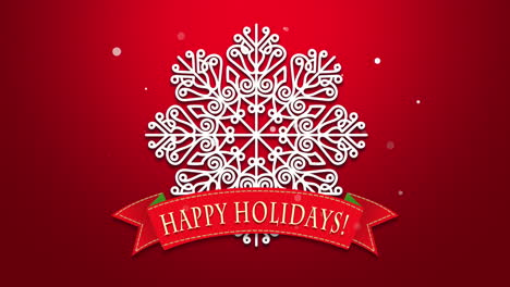 Happy-Holidays-text-with-white-snowflakes-on-red-background